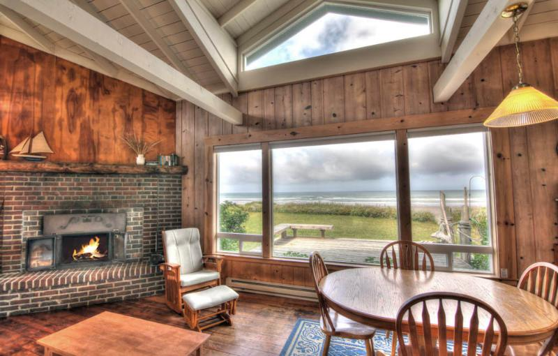 Living Room with Wood Burning Fireplace and Ocean View! - OceanFront Home Direct Beach Access Sleeps up to 6 - Yachats - rentals