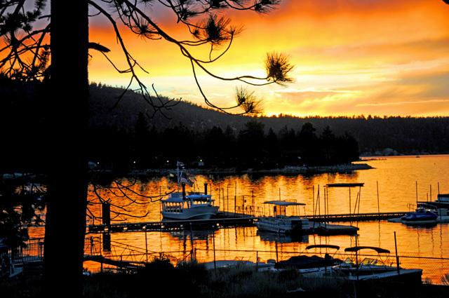Front Deck view of Fall Sunset over Big Bear Marina - 4 Seasons Of Fun Spa Big Bear Marina Village Lake - City of Big Bear Lake - rentals