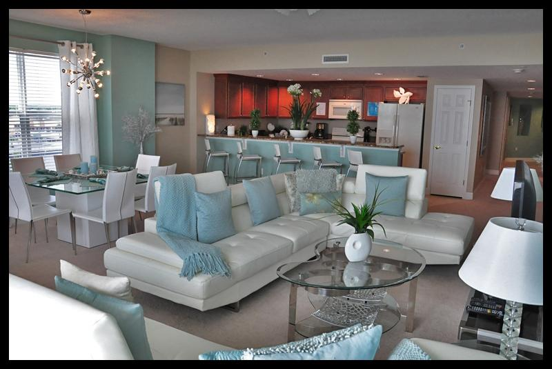 Gorgeous living room with white leather couches - Call For Fall $pecials-Condo Opus #504 Ocean Front - Daytona Beach - rentals