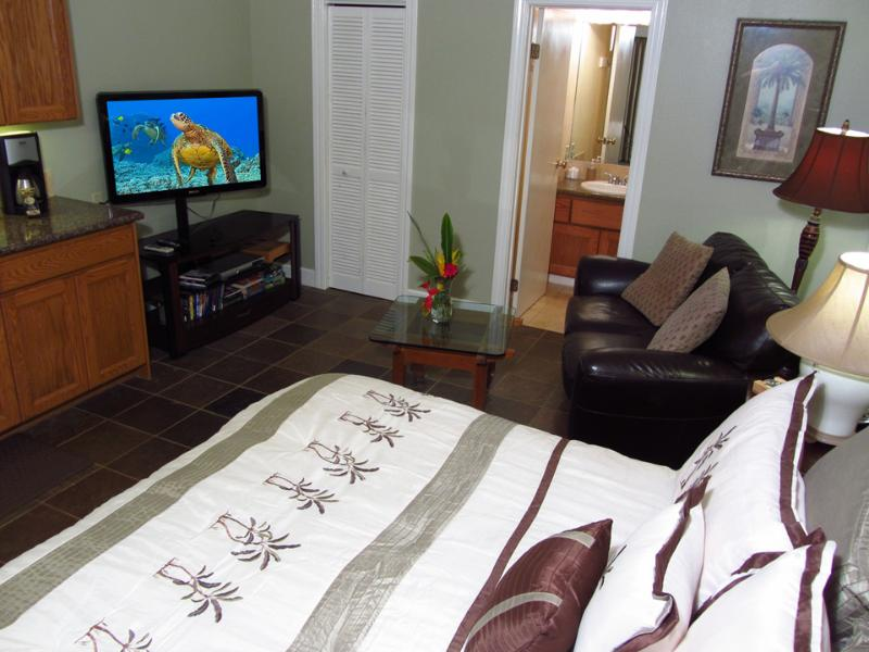 King bed+HDTV.  Walk in closet & bath - A/C+king bed+jacuzzi tub+kitchen+HDTV-Walk 2 Beach - Koloa - rentals