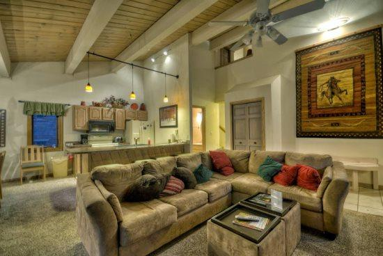 Living Area with Vaulted Ceilings, Gas Fireplace, Large Comfortable Couch - Phoenix 102 - Steamboat Springs - rentals