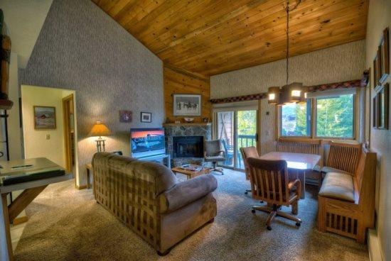 Open Living Area With Wood Burning Fireplace and Sleeper Sofa - Pines A304 - Steamboat Springs - rentals