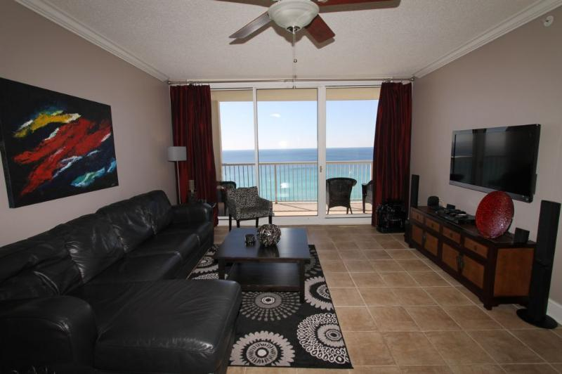 Beautifully Appointed Living Area with Fabulous Gulf View - 4 Bedroom Dreamland with Gulfside Balcony at Majestic Beach Resort - Panama City Beach - rentals