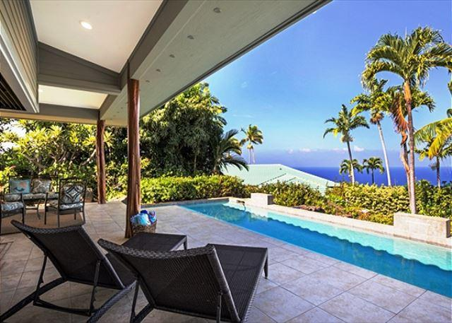 Views from Private Infinity Pool - Keauhou Estates Hale Beachglass Luxury Home, Private Pool, Ocean Views - Kailua-Kona - rentals
