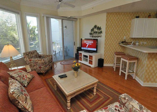 Living Area w/ Flat Panel TV - 2113 SeaCrest-1st Floor, steps to the beach & Coligny. Landscape View - Hilton Head - rentals