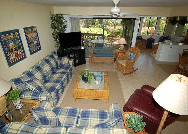 Livingroom w/ flat panel TV - 1423 South Beach Villa - Steps to the Beach - - Hilton Head - rentals