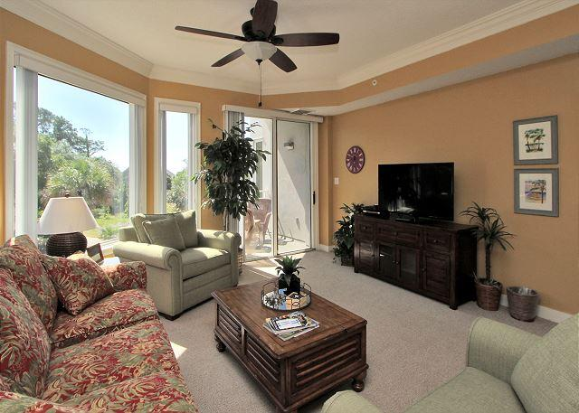 Main Living Area w/ Flat Panel TV - 2203 SeaCrest- PRETTY!  Newly Updated 2nd Floor Villa! - Hilton Head - rentals