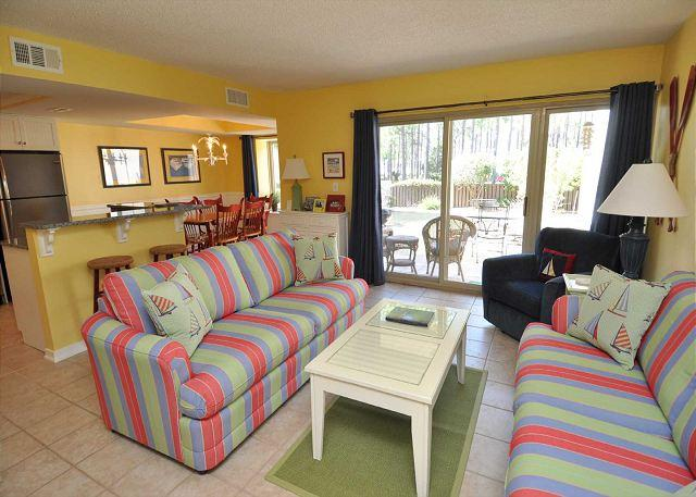 Living Area - 1702 Bluff Villas - Fully Renovated and Beautiful 1st Floor Villa! - Hilton Head - rentals