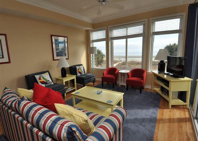 Main Living Area Overlooking the Ocean w/ Flat Panel TV - 3204 SeaCrest - Beautiful Oceanfront Views! 4/18-25 Week Available - $200 OFF - Hilton Head - rentals