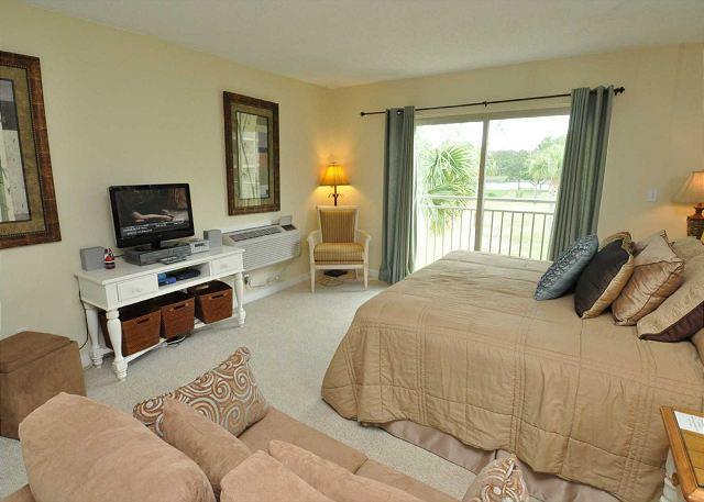 Living Area w/ Flat Panel TV - 1735 Bluff Villas-1 Bedroom efficiency- Braddock Cove View - Hilton Head - rentals