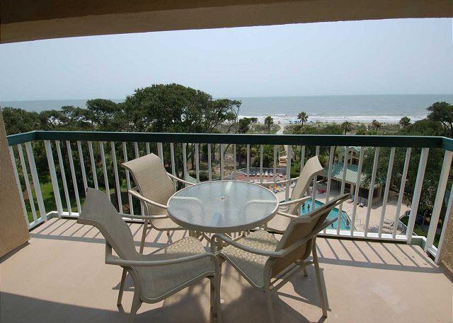 Patio & view - 504 Barrington Arms- 5th Floor Oceanfront - - Hilton Head - rentals