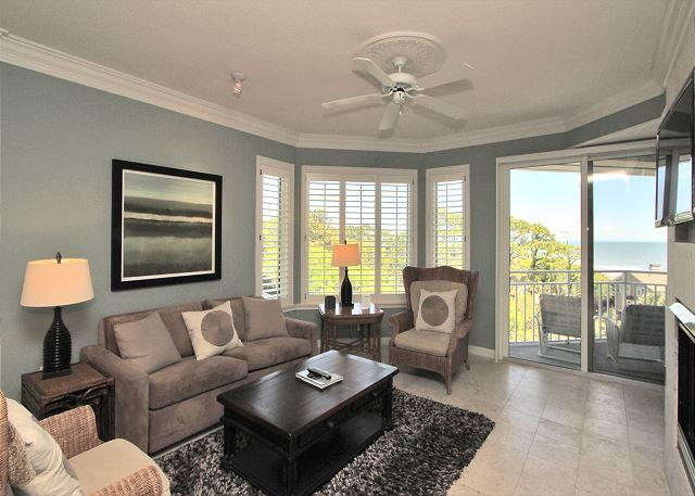 Main Living Area w/ Flat Panel TV - 2503 SeaCrest- Ocean views & Beautiful Interior- Book now for Fall. - Hilton Head - rentals
