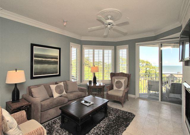 Main Living Area w/ Flat Panel TV - 2503 SeaCrest- Ocean views & Beautiful Interior-Available 8/20-27 week - Hilton Head - rentals