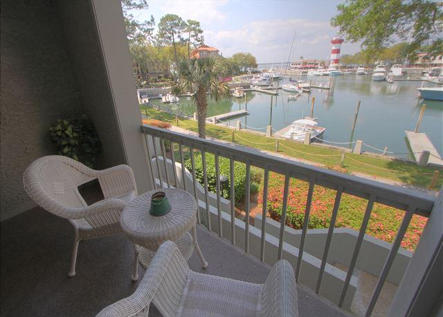 Patio View of Harbourtown Marina & Lighthouse - 1029 Caravel Court-Awesome views of Harbour Town Lighthouse. - Okatie - rentals