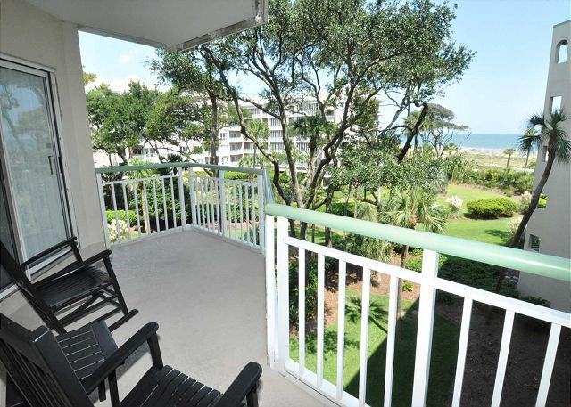 Patio & View - 2315 Windsor Place II -Beautiful Oceanfront 1 Bedroom Villa! - Hilton Head - rentals