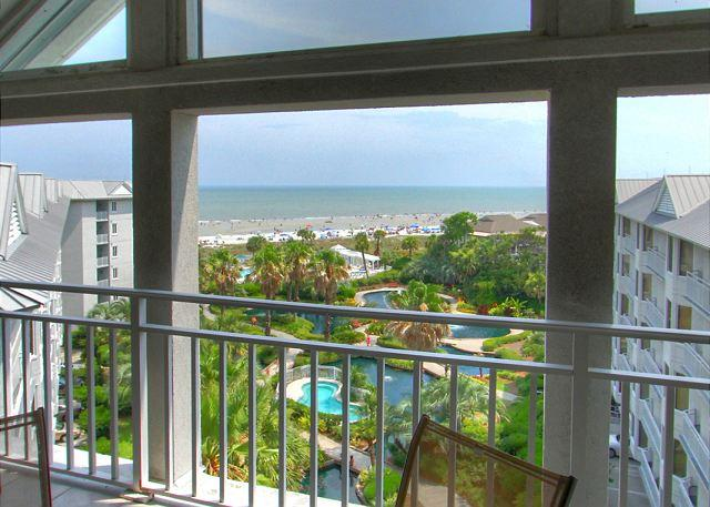 View from Upper Level Balcony - PENTHOUSE 5 at SeaCrest - Oceanfront 4 Bedrooms & Beautiful - Sleeps 10 - Hilton Head - rentals