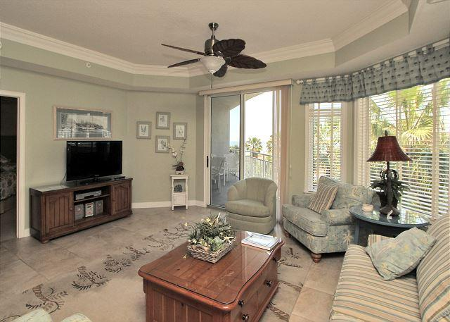Main Living Area w/ Flat Panel TV - 2302 SeaCrest-3rd Floor and Beautiful Ocean Views & Quick walk to Dining, etc - Hilton Head - rentals