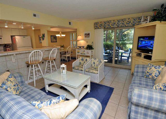 Main Living Area w/ Flat Panel TV - 1654 Bluff Villa - Beautiful first floor villa and fully Renovated! - Hilton Head - rentals
