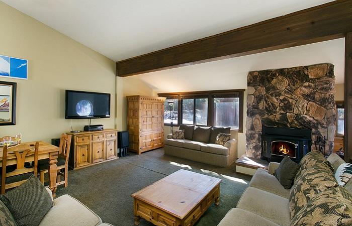 Helios South #3 Living Area With A Wood Burning Fireplace - Helios South 3 - Mammoth Condo - Walk to Village - Mammoth Lakes - rentals