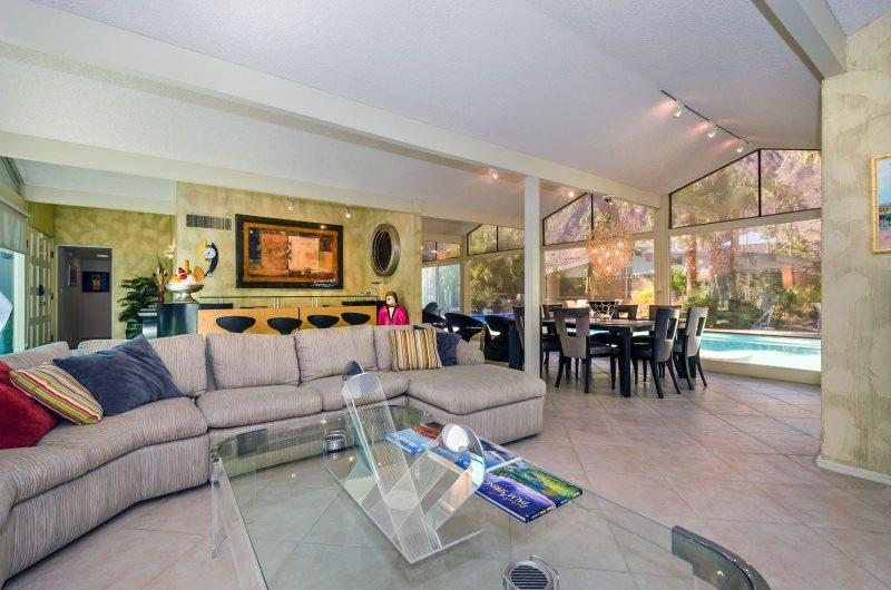 Living Room with Views to Pool and Mountains Beyond - Alluring Alexander - Palm Springs - rentals