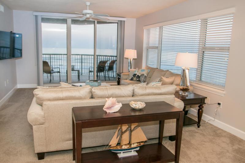 Oceanfront Living Room - Fall $pecials-Twin Towers Condominium #504 -Ocean Front - Daytona Beach - rentals