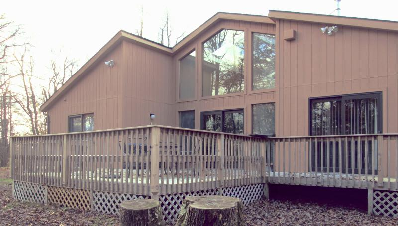 Front View of home with wrap around deck - Amazing Pocono rental close to all Attractions !!! - Long Pond - rentals
