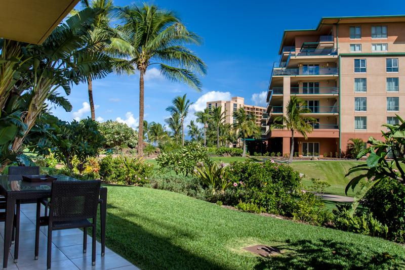 A secluded, grassy area for relaxing off the shaded lanai...perfect for kids! - Maui Resort Realty Presents Groundfloor Honua Kai Hokulani 146 - Lahaina - rentals
