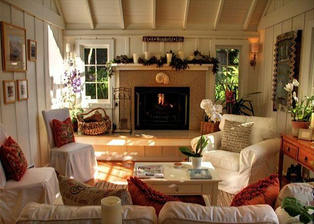 "Welcome to ""Sanctuary-by-the-Sea""!  Living room with woodburning fireplace and gas kindler. A perfect Carmel cottage. - 3095 Sanctuary-by-the-Sea ~ Luxury Master, Walk to Downtown - Carmel-by-the-Sea - rentals"