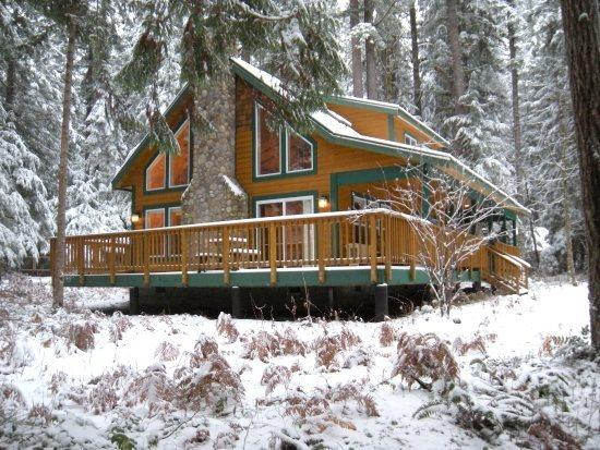 The front of Cabin 78 - Snowline cabin #78 - 3 bedrooms, 2 baths - hot tub! Pet Friendly! - Glacier - rentals