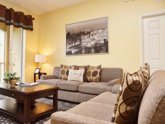 Living Area - WH3C7660CS-203 Luxury 3 Bedroom Condo in Windsor Hills Resort with Lake View - Orlando - rentals