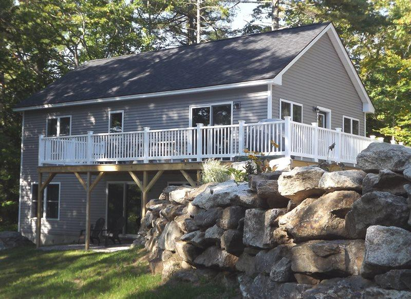 From the large yard looking up to the house and deck - WHITELEY'S WHARF   BARTER'S ISLAND   LEWIS COVE   WATERFRONT WITH DOCK AND FLOAT   OPEN WRAP-AROUND DECK - Boothbay - rentals
