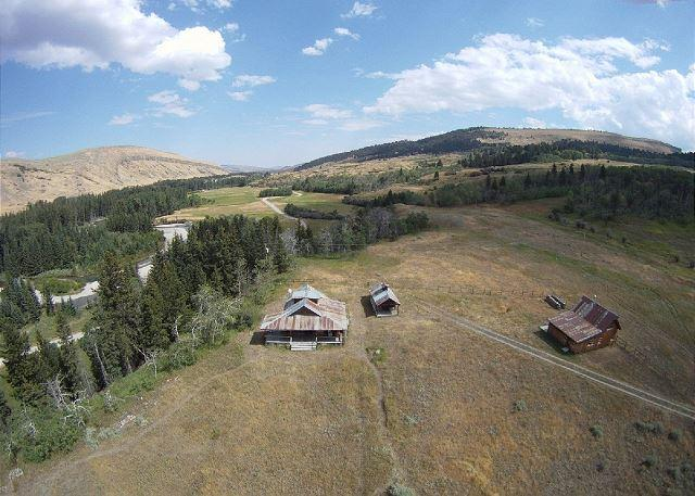 Aerial view of property and nearby West Boulder River - West Boulder Cabins - McLeod - rentals