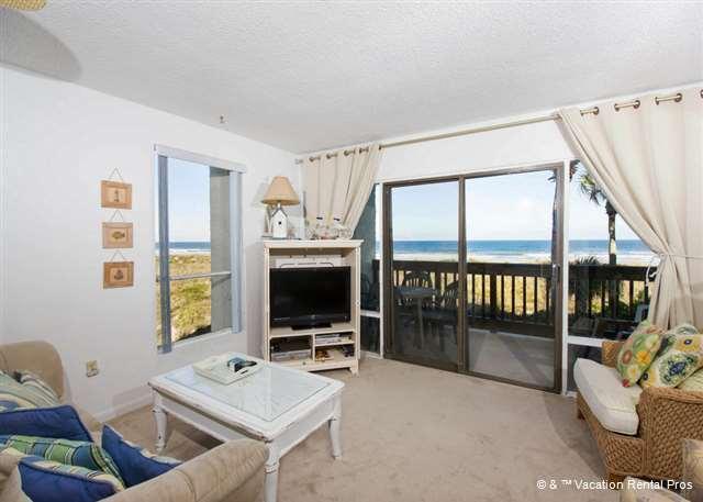 Stunning ocean views are just thru the sliders! - Island House A 211 Beach Front Rental, HDTV, Wifi Crescent Beach - Saint Augustine - rentals