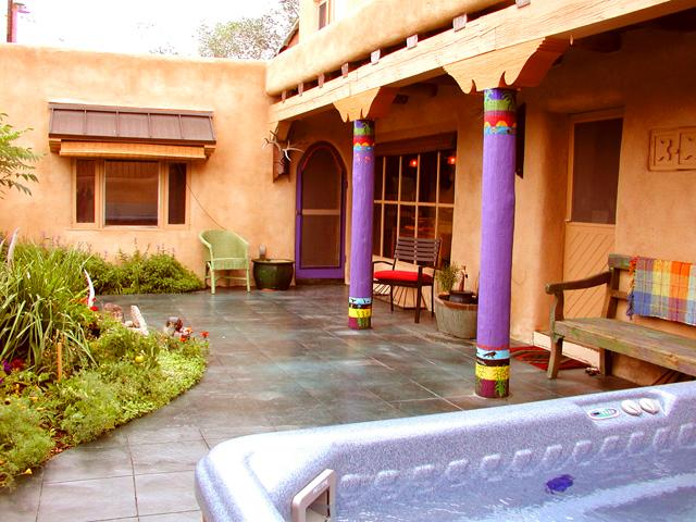 Polished slate floor, prfofessionally landscaped slate floor patio / yard totally enclosed by 6 foot adobe privacy wall - Blue Elk Casa-Up & Down - Taos - rentals