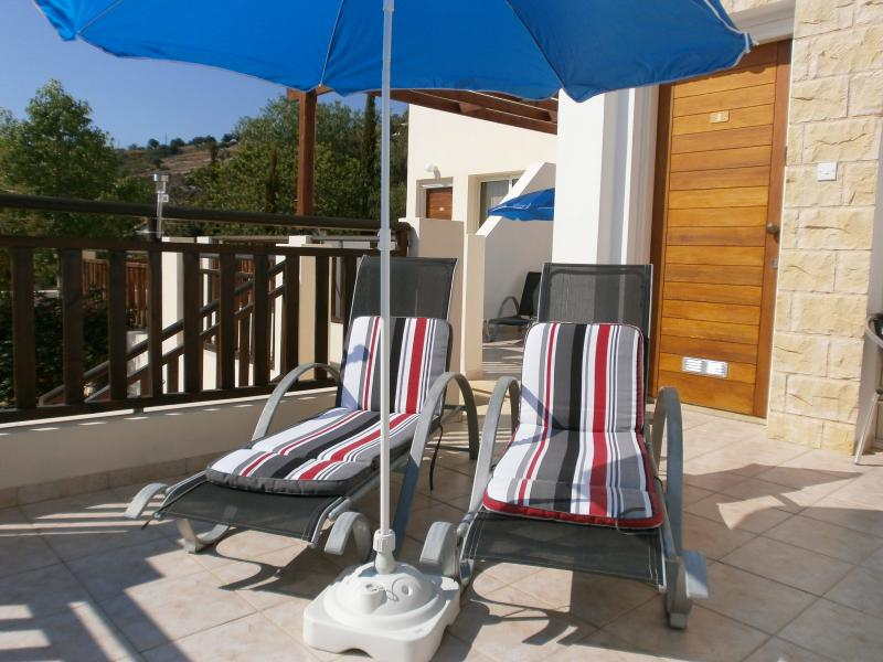 Relaxing on the Apartment sun loungers - Luxury Studio Appt A2 with Sea Views, Cyprus - Peyia - rentals
