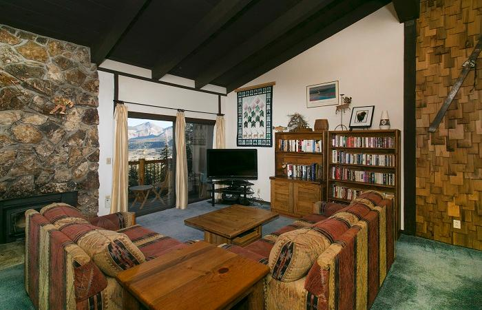 Timber Ridge #12 Living Area With Fantastic Views And A Wood Burning Fireplace - Timber Ridge 12 - Mammoth Condo Ski in Ski out - Mammoth Lakes - rentals