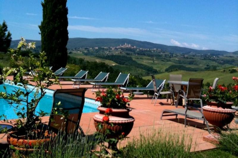 Sunbeds with swimming pool - Villa Croco Vacation Rentals in Tuscany - San Gimignano - rentals