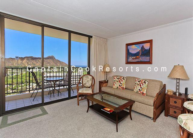 Living area with Diamond Head view - AWESOME Ocean and Diamond Head views!  Upgraded, includes A/C, WiFi, Parking! - Waikiki - rentals