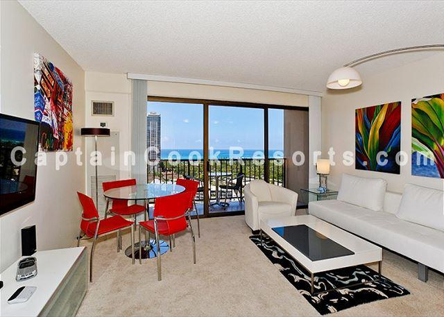 Cental A/C upgraded colorful artwork white leather decor - Amazing ocean and sunset views from this modern, high floor 1-bedroom condo! - Waikiki - rentals