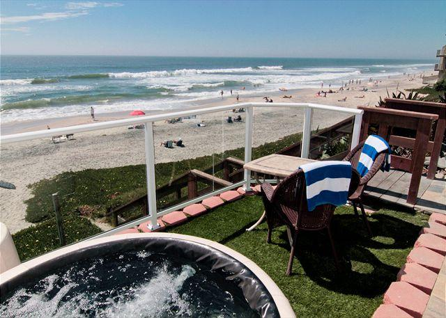 Beachfront patio with private spa - Stunning Oceanfront Vacation Rental in Carlsbad, CA - Carlsbad - rentals
