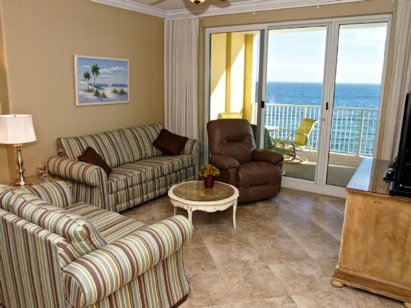 Living area with amazing view of the beach - Beach Front at Ocean Reef; 2/2 with Beach Service! - Panama City Beach - rentals
