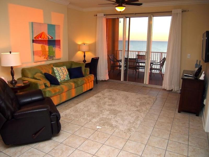 From this beautiful living area, the view is amazing as you can see out that sliding door! - 19th Floor Gulf Front 2/2 condo at Tropic Winds! - Panama City Beach - rentals