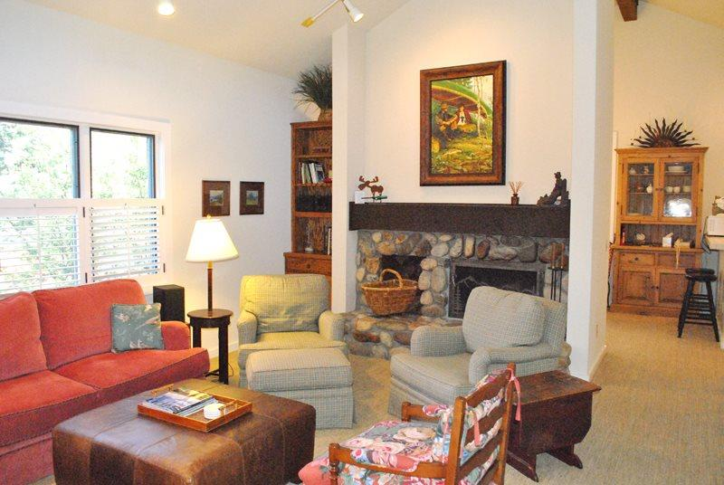 Upstairs living area with stone fireplace and Baldy Views - Knob Hill #10 - Incredible Downtown Location Newly Updated; - Ketchum - rentals