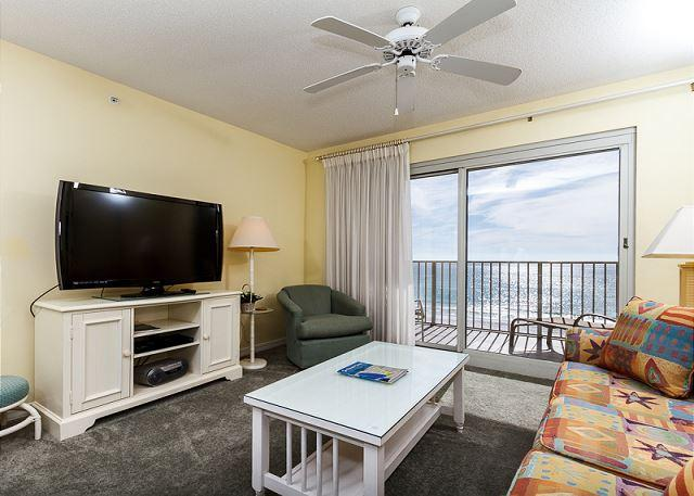 The window to the balcony in this room has white sheer curtains, - SL 303: 3rd floor beach front,free beach service, snorkeling, GOLF, movies - Fort Walton Beach - rentals