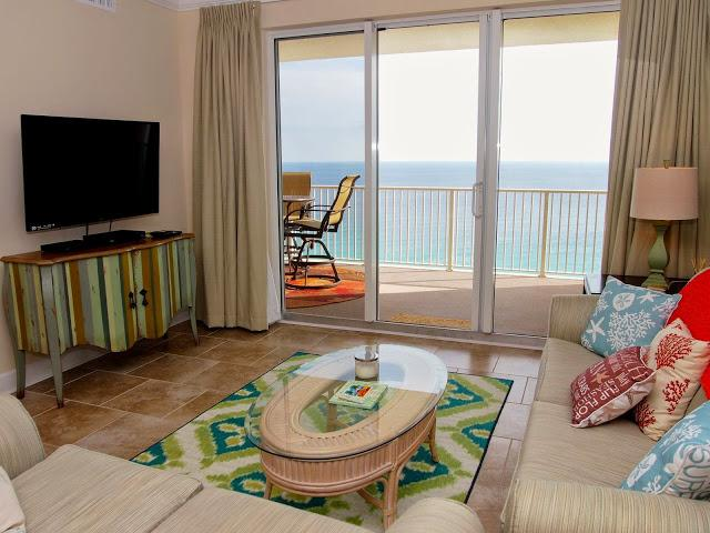 Amazing view from #1705's living area.  Yes, it is a direct view of the beach and ocean! - Gorgeous 2/2 ON THE Beach in Panama City! - Panama City Beach - rentals