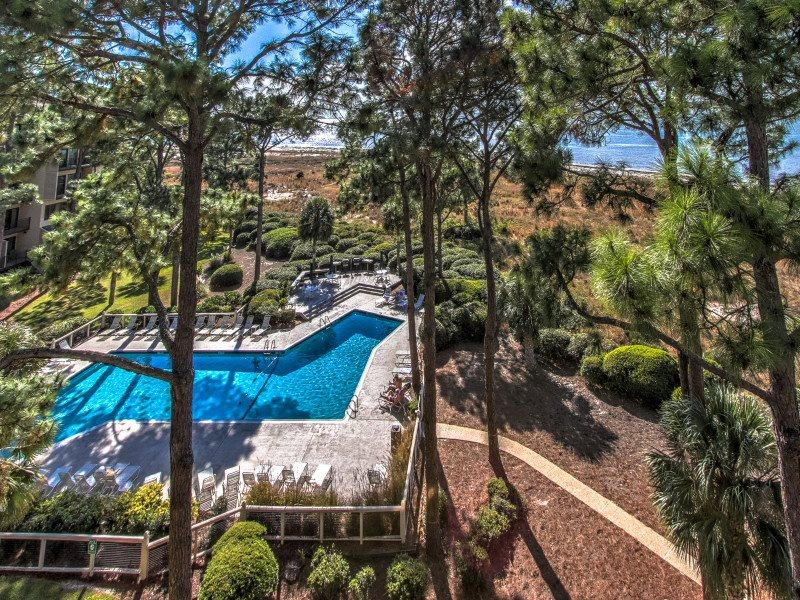 View of the Pool Area from 1882 Beachside Tennis - 1882 Beachside Tennis - Sea Pines - rentals