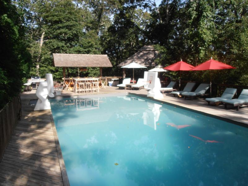 pool area with covered bar, pavilion and basketball hoops  - East Hampton Family Retreat with Cottage - East Hampton - rentals