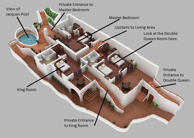 Bedroom Floor Plan - Vista Paraiso - Nestled in Pelican Eyes, Privately Owned - San Juan del Sur - rentals