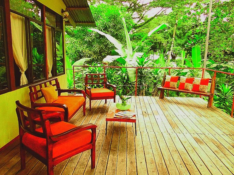 Upstairs Deck with a view of the water and jungle - Casa Bella Beach house, Puerto Jimenez, Osa, Costa Rica - Puerto Jimenez - rentals