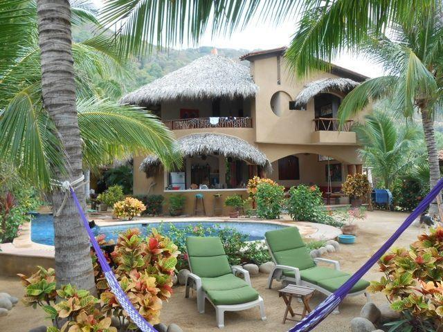 View of house from beach - CASA FIREFLY Beach Villa, yoga deck & lap pool - Troncones - rentals